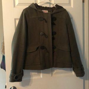 Olive green hooded toggle coat XXL